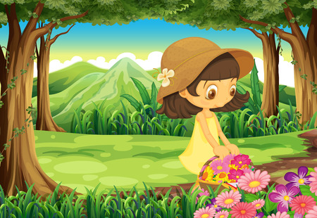 Illustration of a beautiful lady picking up the flowers in the forest