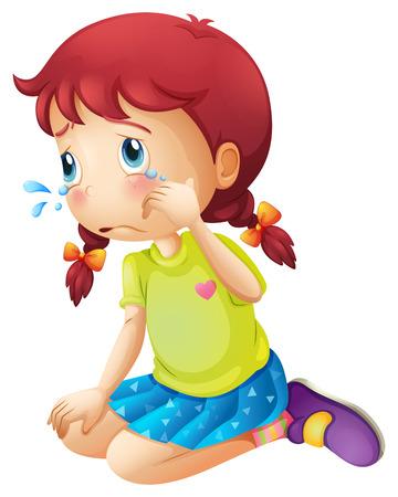 Ilustración de Illustration of a young lady crying isolated on white  - Imagen libre de derechos