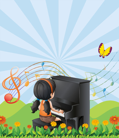 Illustration of a girl playing with the piano at the hills