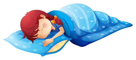 Illustration of a sleeping child on a white background