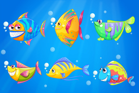 Illustration of the colorful and smiling fishes under the sea