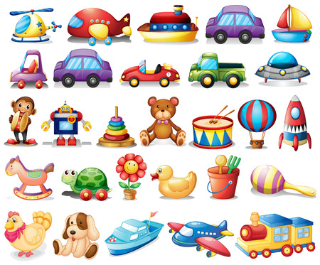 Illustration of the collection of toys on a white background