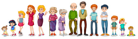 Illustration of a big extended family on a white background