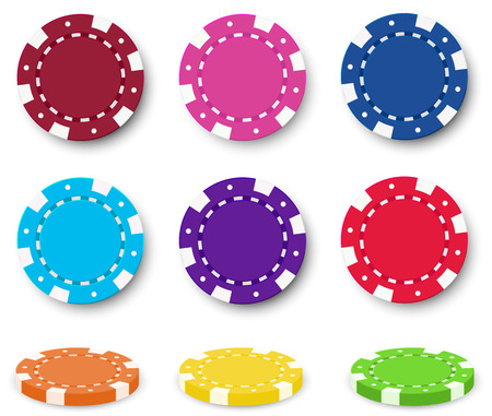 Illustration of the nine colorful poker chips on a white background