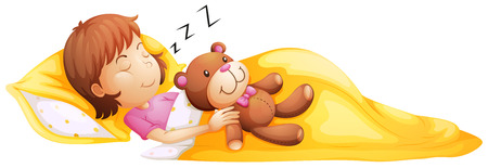 Illustration pour Illustration of a young girl sleeping with her toy on a white background - image libre de droit