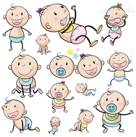 Photo pour Illustration of a group of babies on a white background - image libre de droit