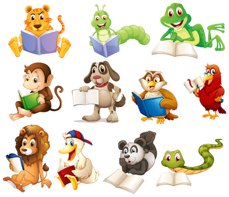 Photo for Illustration of a group of animals reading on a white background - Royalty Free Image