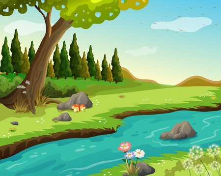 Illustration of a river at the forestのイラスト素材