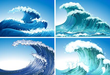 Ilustración de Illustration of different waves - Imagen libre de derechos