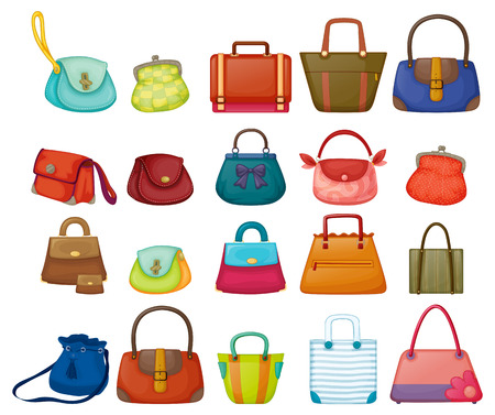 Illustration pour Illustration of a set of woman purses - image libre de droit