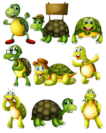 Ilustration of a set of turtle with actionsのイラスト素材