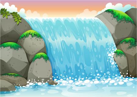 Illustration pour Illustration of a waterfall - image libre de droit