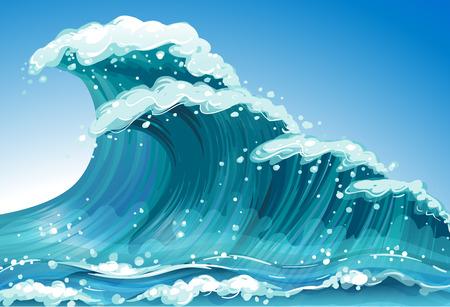 Ilustración de Illustration of a single wave - Imagen libre de derechos