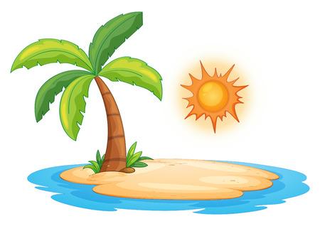Illustration pour Illustration of a desert island - image libre de droit