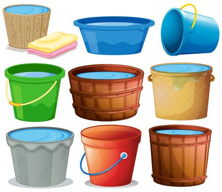 Illustration pour Illustration of many buckets - image libre de droit