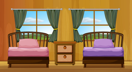 Illustration of a bedroom with two beds