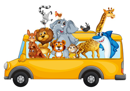 Photo for Illustration of many animals on a school bus - Royalty Free Image