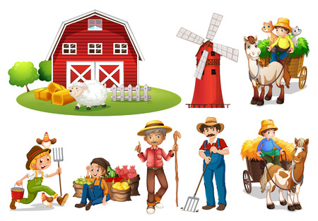 Illustration pour Illustration of a set of farmers and a barn - image libre de droit