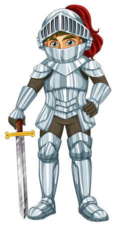 Illustraion of a male knight with a sword