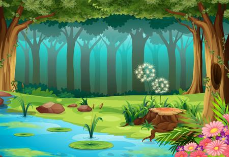 Illustration pour illustration of a rainforest with no animals - image libre de droit