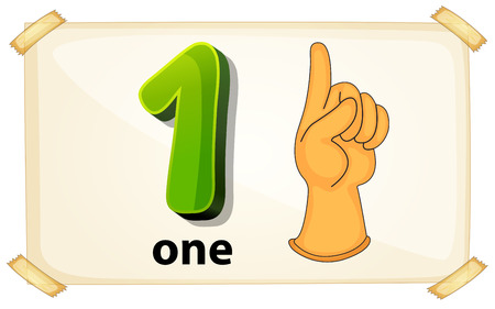 Illustration of a flashcard number one