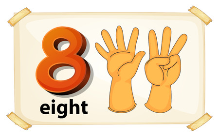 Illustration of a flashcard number eight