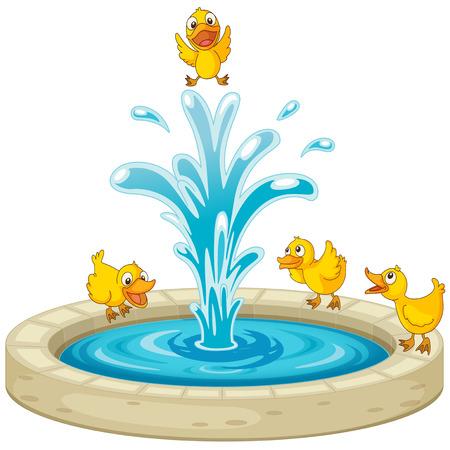 Illustration pour Illustration of ducks and fountain - image libre de droit