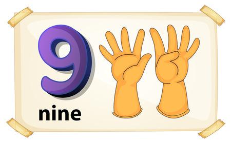 Illustration of a flashcard nuber nine