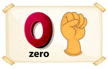 Illustration of a flash card number zero