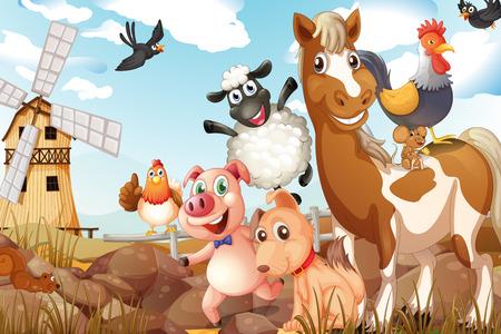 Photo pour Illustration of many animals in a farm - image libre de droit