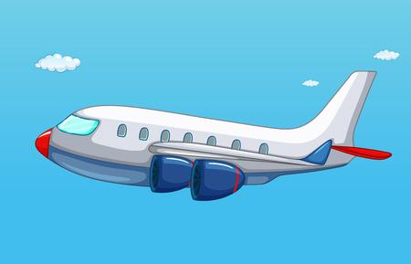 Ilustración de illustration of an airplane flying in the sky - Imagen libre de derechos