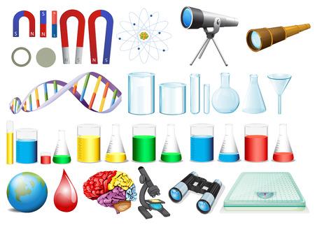 Ilustración de illustration of a set of science equipments - Imagen libre de derechos