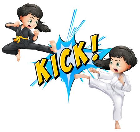 Girls kicking with flash on white