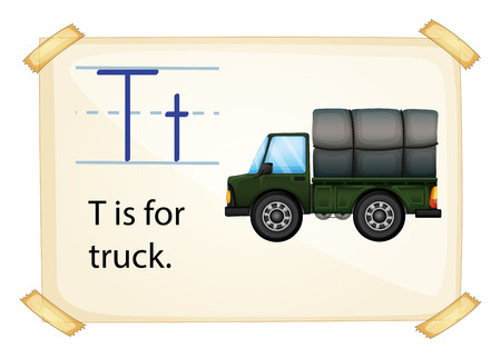 A letter T for truck on a white background