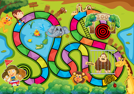 Board game with zoo theme
