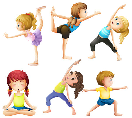 Female practicing poses of yoga