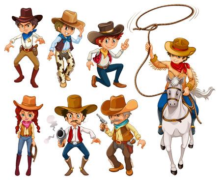 Illustration pour Illustration of different poses of cowboys - image libre de droit