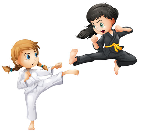 Illustration of girls doing karate