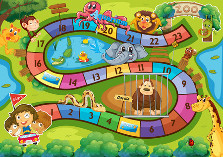 Illustration of a board game with zoo background