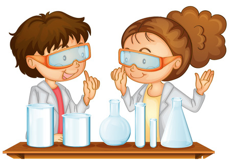 Illustration of two students working in a science lab