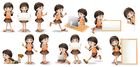 Illustrazione per Illustration of a girl in different poses holding a sign - Immagini Royalty Free