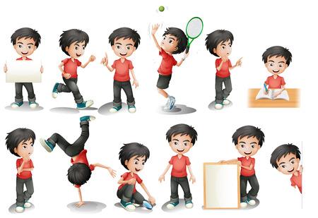Ilustración de Illustration of a black hair boy in different position - Imagen libre de derechos