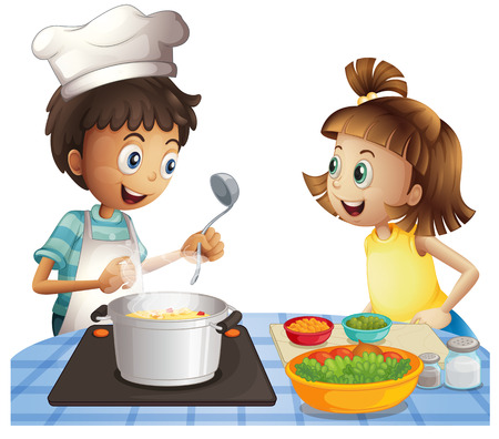 Illustration of two children cooking