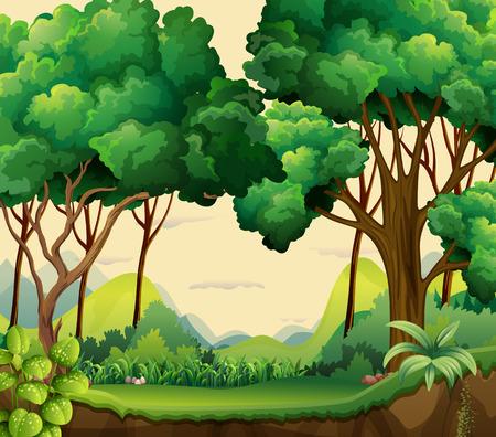 Ilustración de Illustration of a forest view at daytime - Imagen libre de derechos