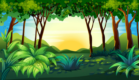 Illustration pour Illustration of a scene of a forest - image libre de droit