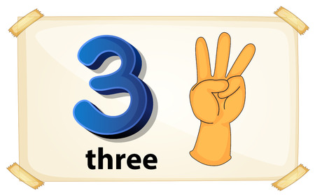 Illustration of a flashcard number three