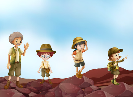 Illustration of many children in scout uniform