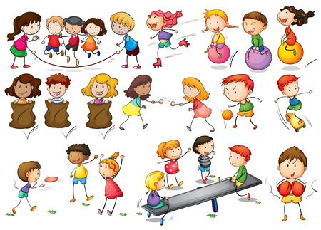 Illustration for Illustration of children playing and doing activities - Royalty Free Image