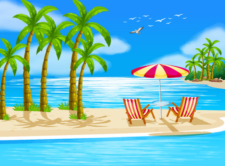 Illustration of beach view with chairs and umbrella