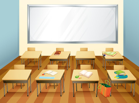 empty classroom with stationary on the desks